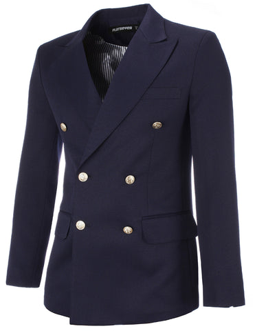 Mens Designer Slim Double Breasted Peaked Lapel Blazer Jacket (BJ444)