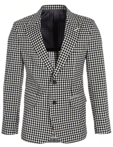 Men's Black Checkered Plaid Peaked Lapel Blazer Jacket (BJ454)
