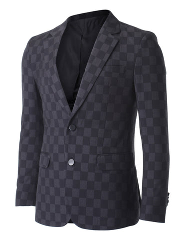 Men's Two Button Black and Grey Checker Patten Blazer Suit Jacket (BJ456)
