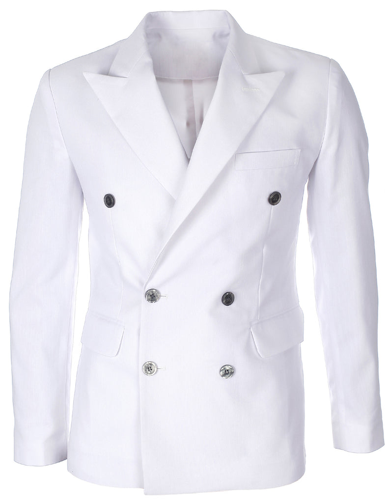 Mens Double Breasted Peaked Lapel White Linen Blazer Jacket (BJ458)