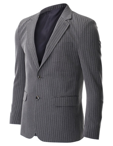 Men's Slim Fit Two Button Single Breasted Vertical Striped Blazer Jacket (BJ472)