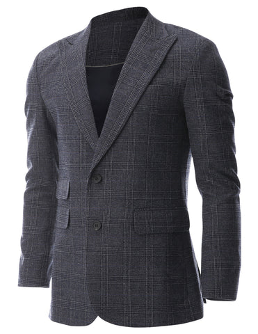 Mens Glen Plaid 2 Button Blazer Jacket Wool Sport Coat (BJ479)