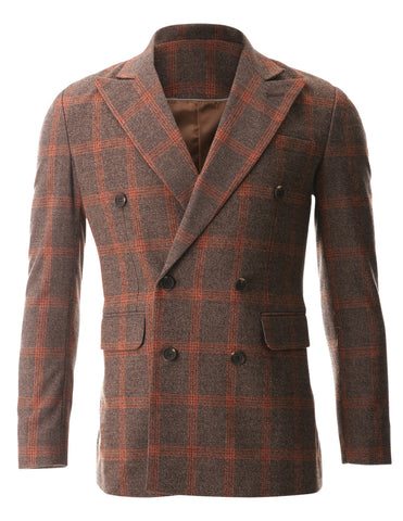 Mens Casual Orange Plaid Check Wool Sport Coat Blazer Jacket (BJ482)