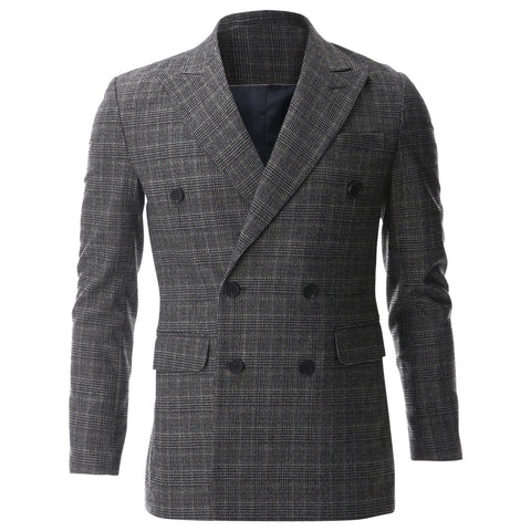 Mens Casual Glen Plaid Check Wool Tweed Blazer Sports Coat (BJ484)