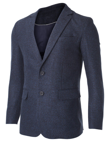 Men's Two Button Classic Wool Blend Sport Coat Blazer Jacket (BJ496)