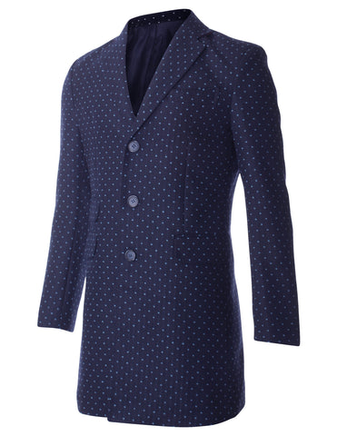 Men's Slim Fit 3 Button Polka Dot Long Blazer Jacket with Ticket Pocket (BJ499)