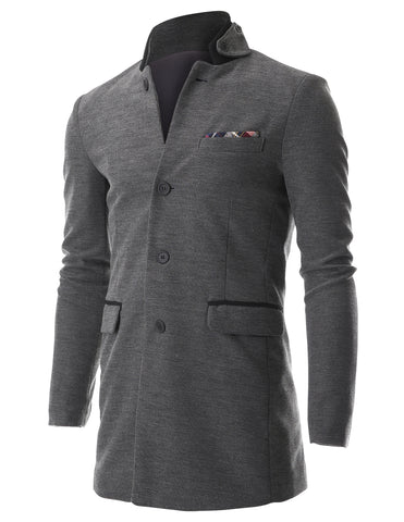 Men's Stand Up Point Collar 4 Button Casual Long Blazer Jacket with Handkerchief (BJ504)