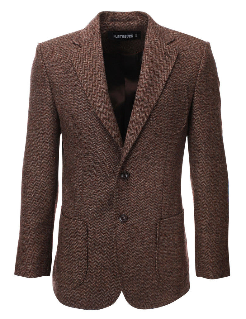 Mens Herringbone Wool Blazer Jacket with Elbow Patches (BJ902)