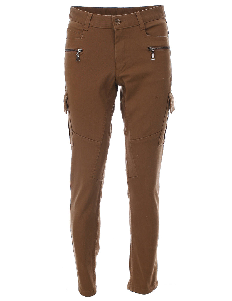 Mens Slim Fit Cargo Pants Trouser Premium Cotton (CH175)