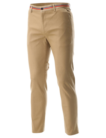 Mens Slim Fit Flat Front Casual Pants with Color Striped Band (CH506)