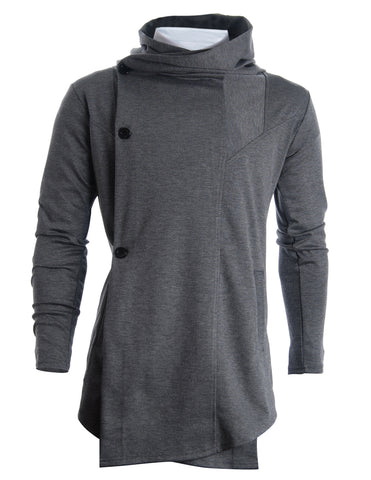 Mens Designer Turtleneck Hoodie Unbalanced Long Cardigan (CL01)