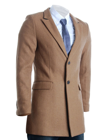 Mens Slim Peaked Lapel Winter Wool Blends Coat (CT120)