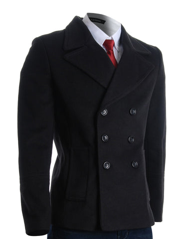 Mens Winter Double Breasted Pea Coat Short Jacket (CT121)