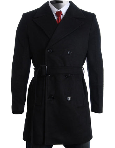 Mens Winter Double Breasted Pea Coat Long Jacket (CT122)