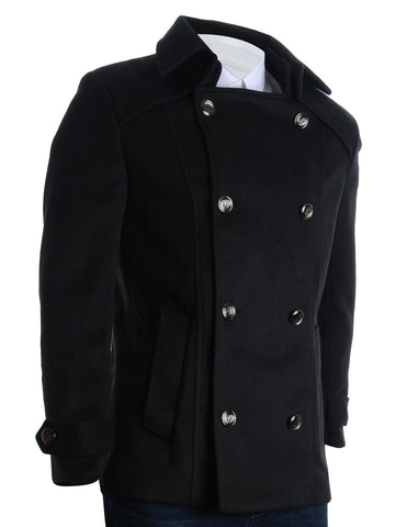 Mens Detachable Collar Double Breasted Pea Coat (CT123)