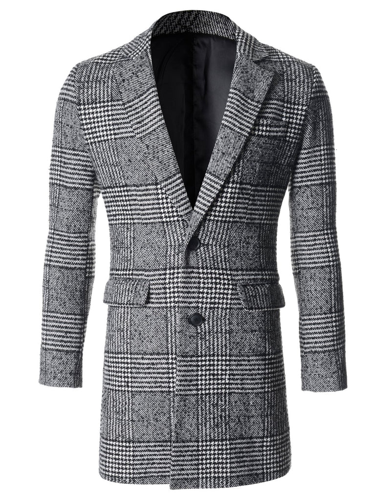 Mens Winter Check Wool Coat Jacket (CT124)