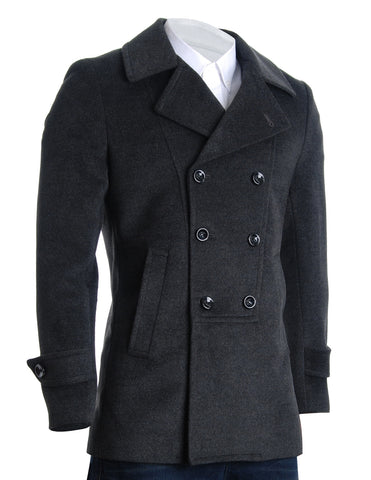 Mens Designer Double Breasted Winter Coat Wool Blends (CT214)