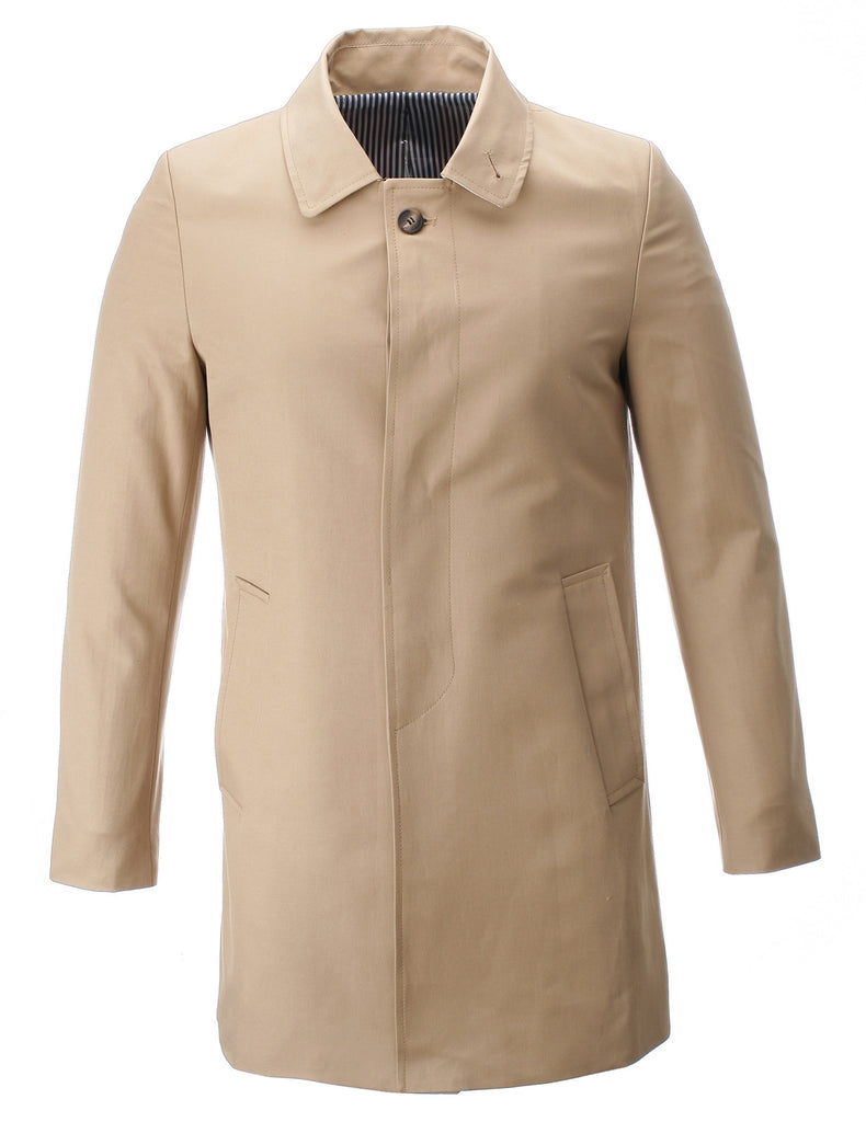 Mens Classic Slim Fit Single Breasted Trench Coat Cotton (CT307)