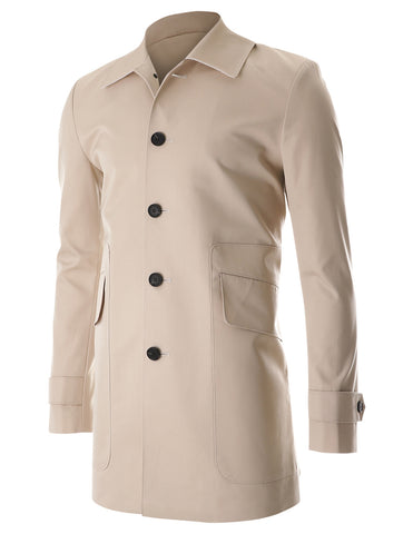 Mens Formal Single Breasted Cotton Trench Coat with Big Pocket (CT401)