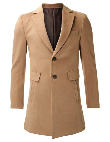 6e8c117a343d Men s Slim Fit Single Breasted Two Button Wool Blend Long Coat (CT419)