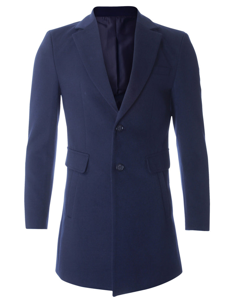 Men's Slim Fit Single Breasted Two Button Wool Blend Long Coat (CT419)