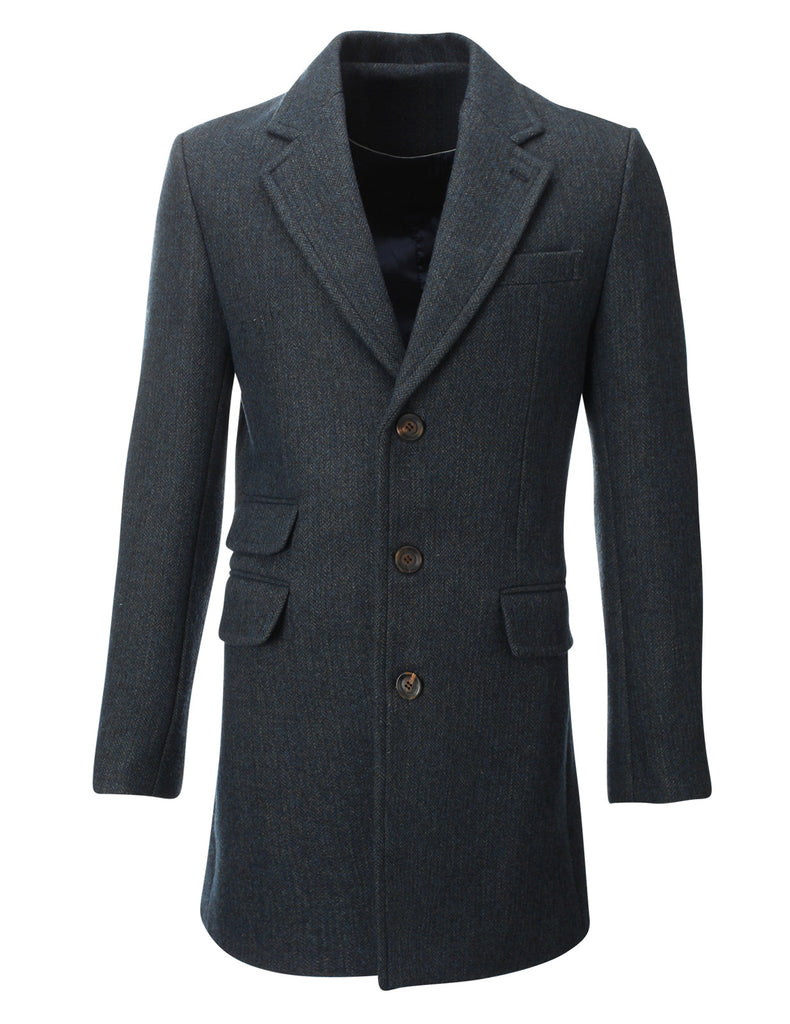 Mens Winter Tweed Coat Long Jacket Wool (CT901)