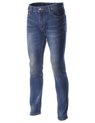 Mens Premium Stone Washed Destroyed Straight Leg Jeans Pants (DN2238)