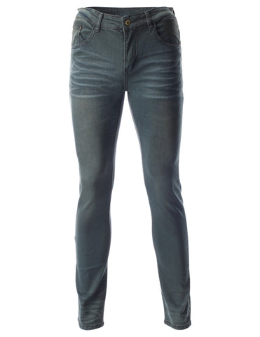 Mens Slim Fit Basic Straight Leg Blue Jeans Denim Pants (DN2702)