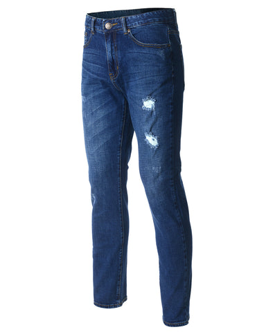 Mens Slim Fit Dark Stone Wash Flex Denim Jeans with Repair Detail (DN2804)