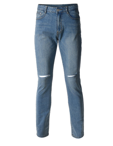 Mens Slim Fit Medium Blue Denim Jeans with Knee Rips (DN2805)