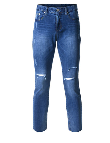 Mens Slim Fit Dark Stonewash Denim Jeans with Knee Rips (DN2807)
