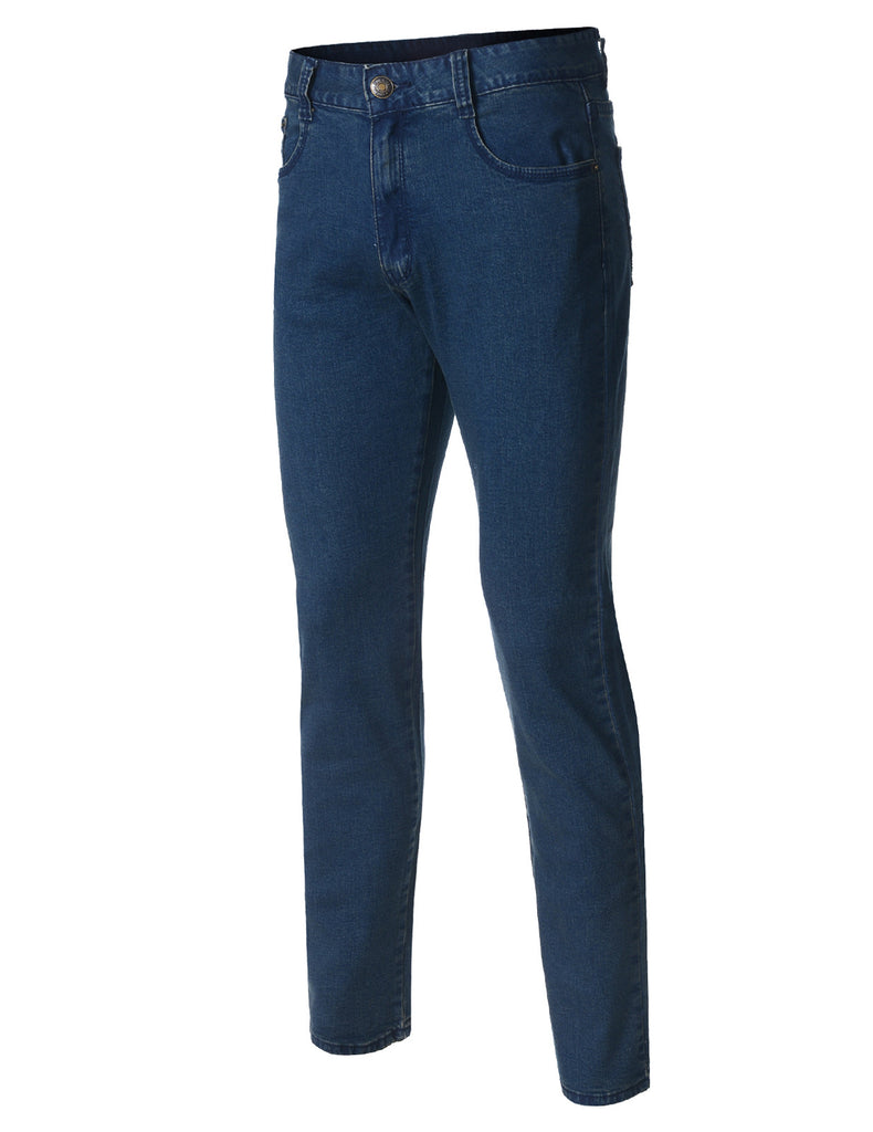 Mens Stretch Skinny Fit Medim Wash Blue Denim Jeans (DN2863)