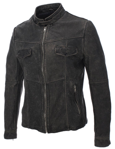 Mens Slim Fit Genuine Leather Mandarin Vintage distressed Jacket (LJ617)