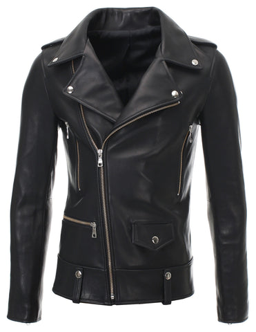 Mens Slim Fit Genuine Leather Motorcycle Jacket Press Stud (LJ701)