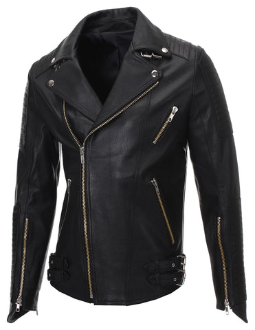 Mens Slim Fit Genuine Leather Ribbed Motorcycle Jacket (LJ702)