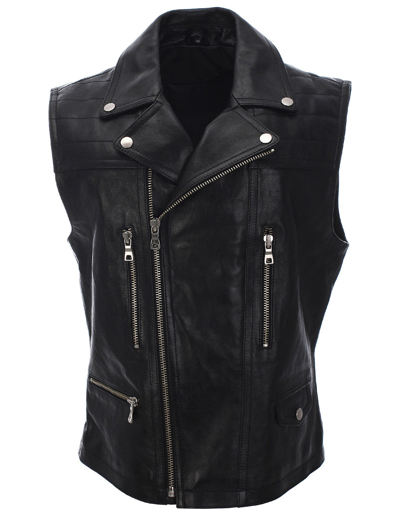 Mens Slim Fit Genuine Leather Motorcycle Classic Casual Vest (LV601)