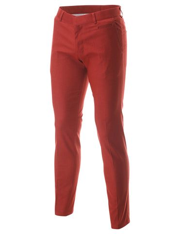 Men's Slim Fit Flat Front Stretch Chino Casual Pants Trousers (PA400)