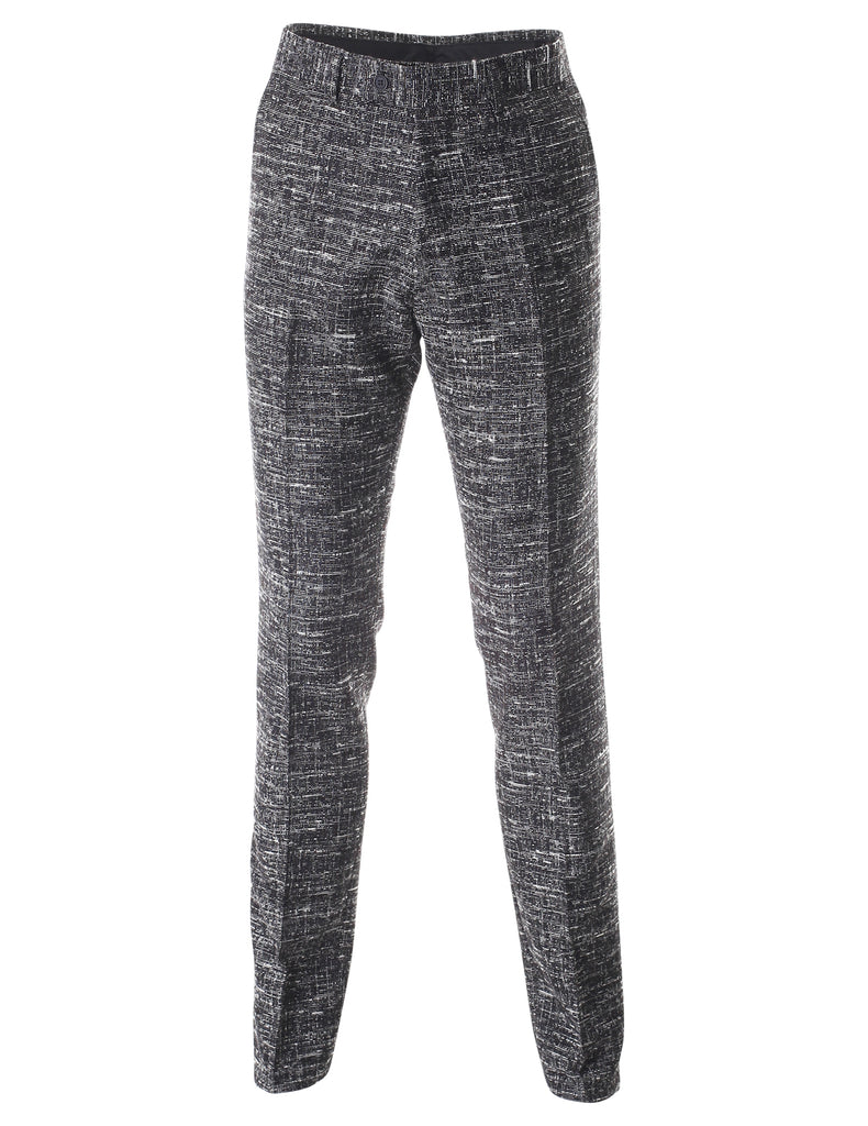 Men's Tweed Multi Woven Flat Front Long Dress Pants (PA463)