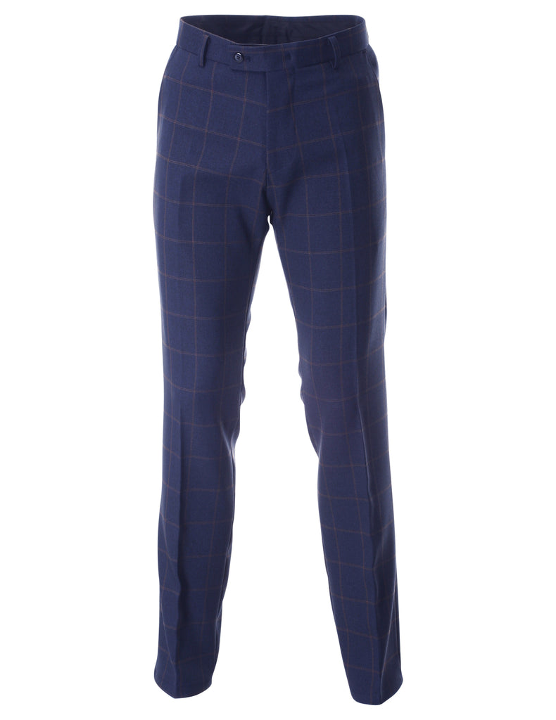 Men's Slim Fit Plaid Flat Front Long Dress Pants (PA466)