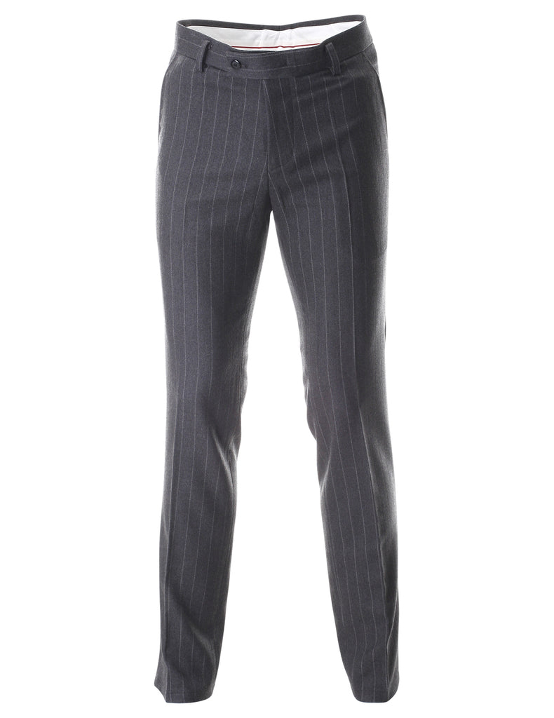 Men's Striped Flat Front Long Dress Wool Pants (PA471)