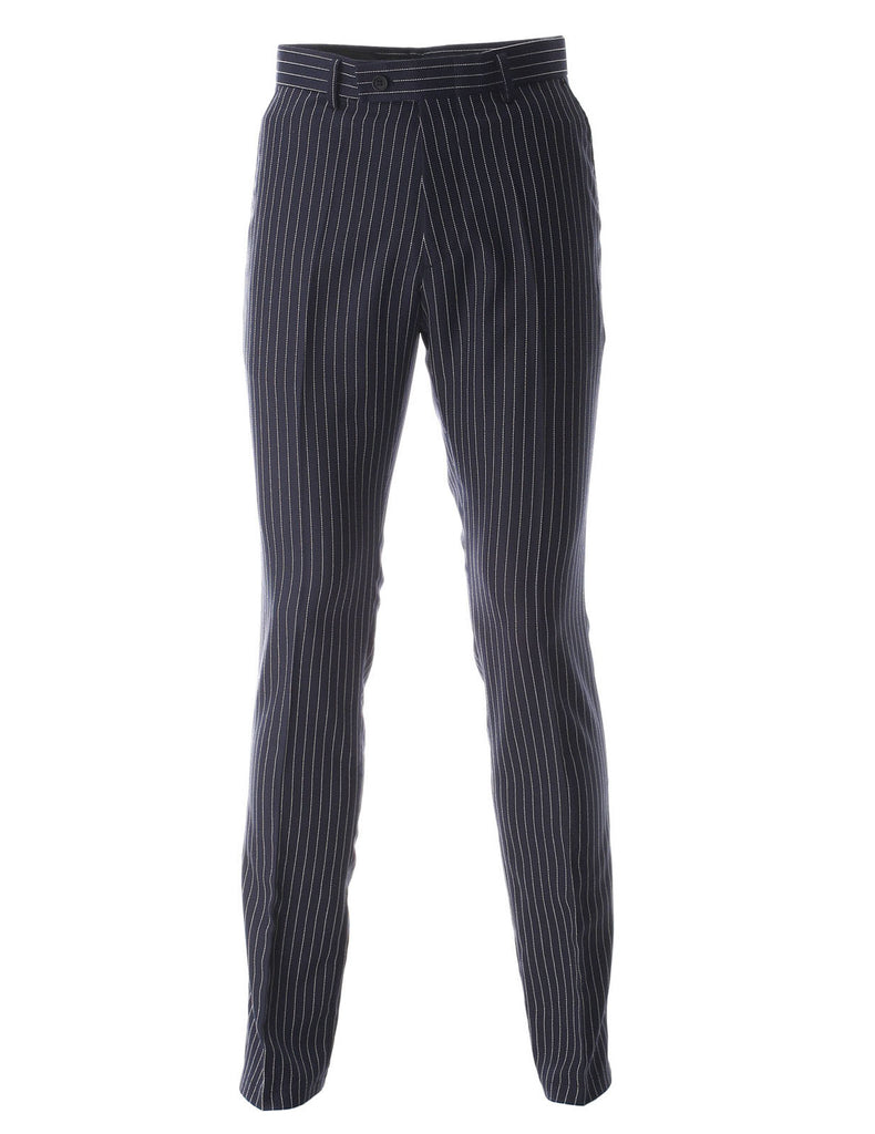 Men's Vertical Pin Striped Flat Front Long Dress Pants (PA472)