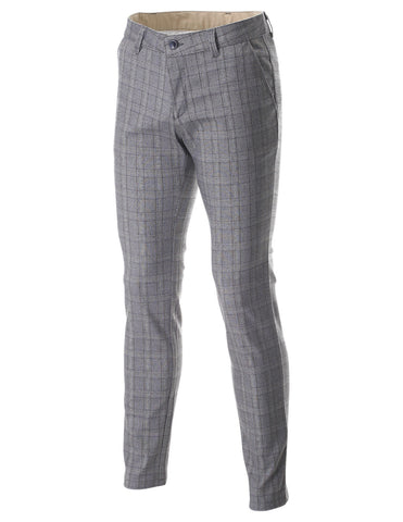 Men's Slim Fit Plaid Glen Check Flat Front Long Pants (PAC138)