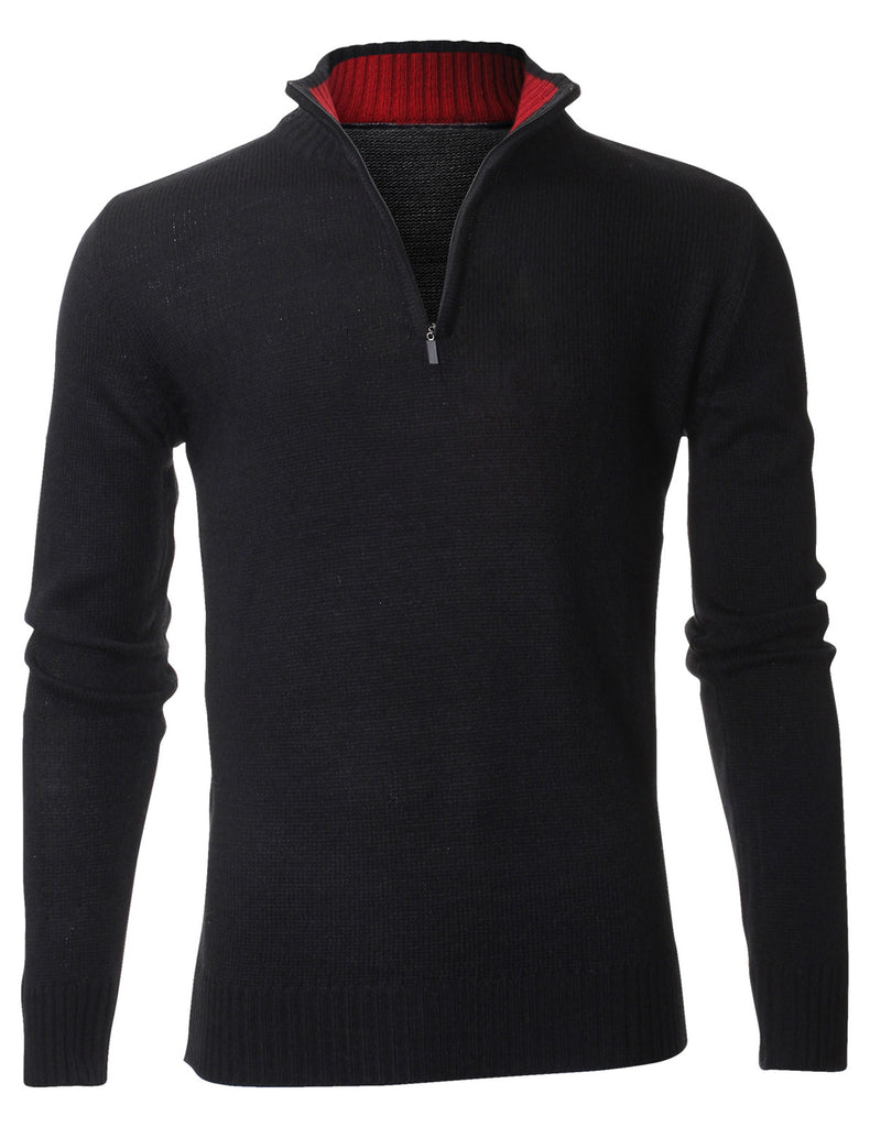 Men's Casual Solid Mock Neck Half-Zip up Pullover Sweater (PZ404)