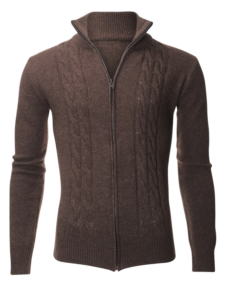 Men's Casual Cable Knit Full-Zip up Wool Sweater Cardigan (PZ405)