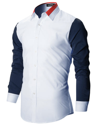 Mens Contrast Colorblock Collar Slim Fitted Shirt (SH1003)