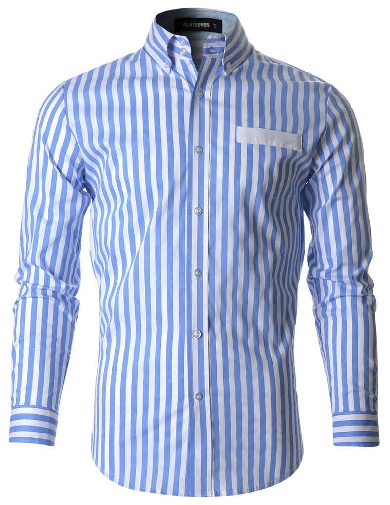 Mens Slim Striped Button Down Cotton Casual Shirt (SH1007)