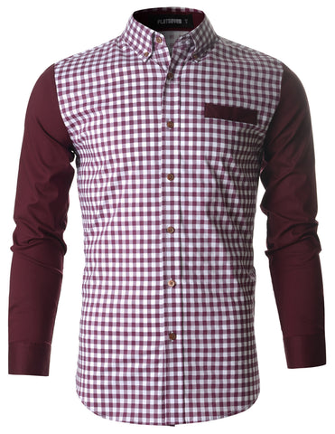 Mens Casual Gingham Woven Check Plaid Slim Fit Shirt (SH1008)