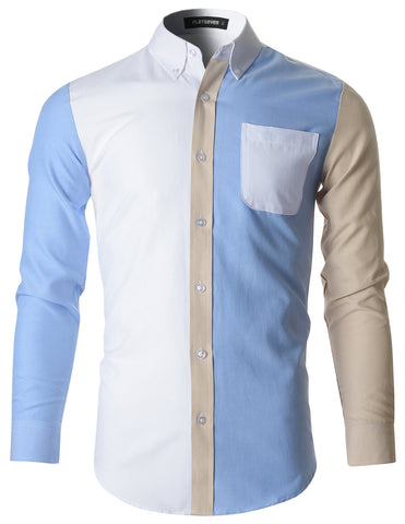 Mens Button Down Contrast Cotton Dress Shirt (SH1009)