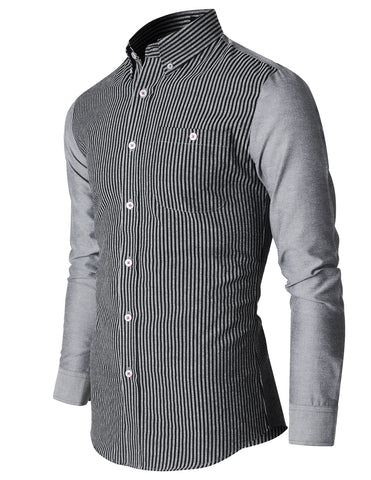 Mens Stylish Narrow Striped Button Down Casual Shirt (SH1014)