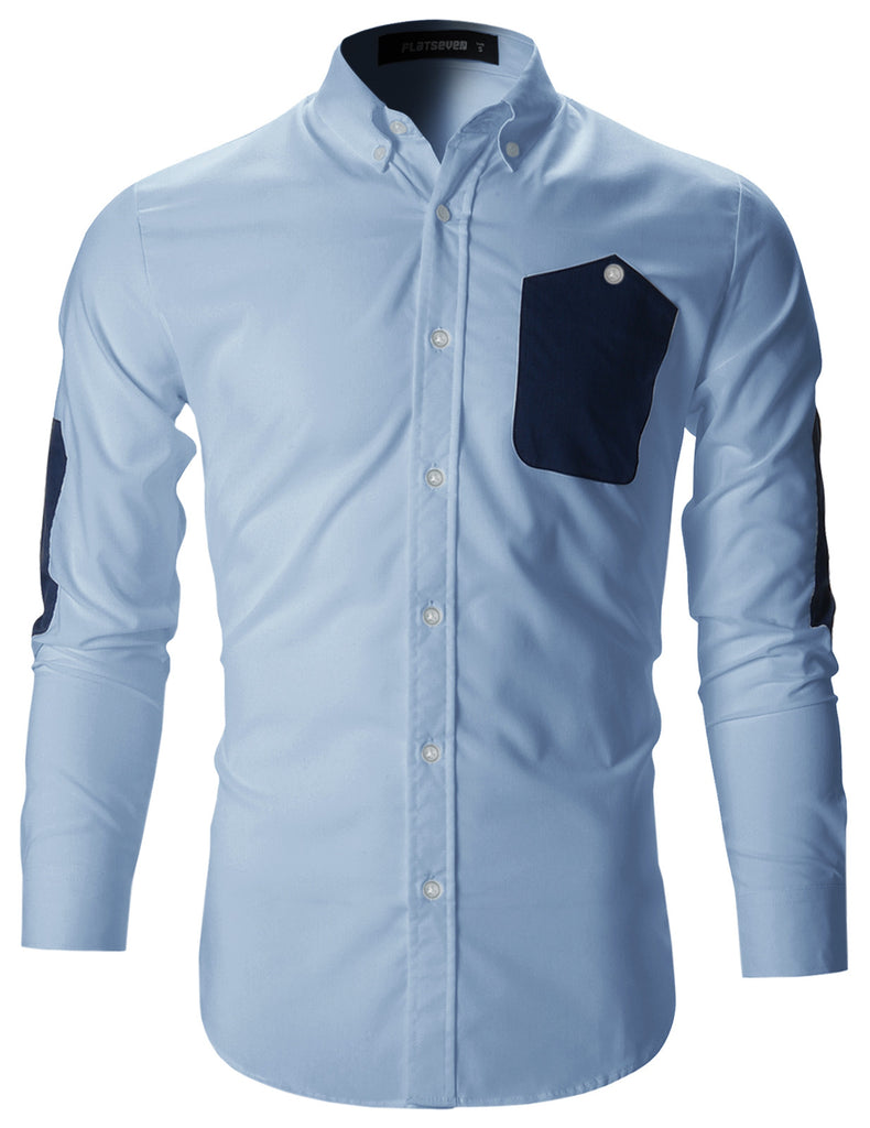 Mens Slim Fit Dress Shirts With Elbow Patches (SH108)